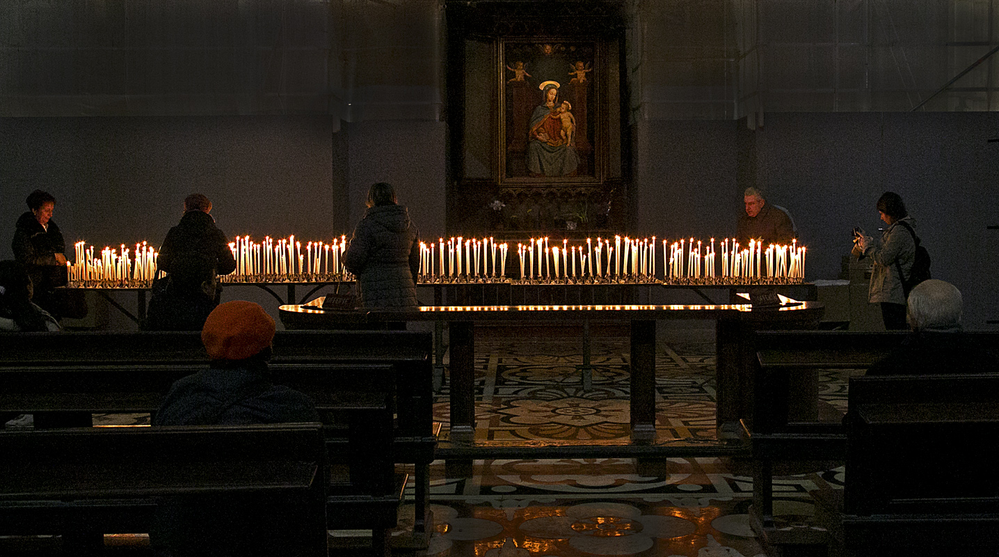 Candle light and reflection, Milan Duomo